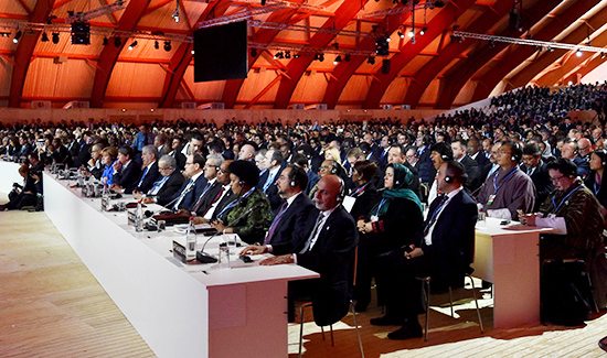 World leaders convene all in one room at COP21 to work toward collaboration on global climate action.