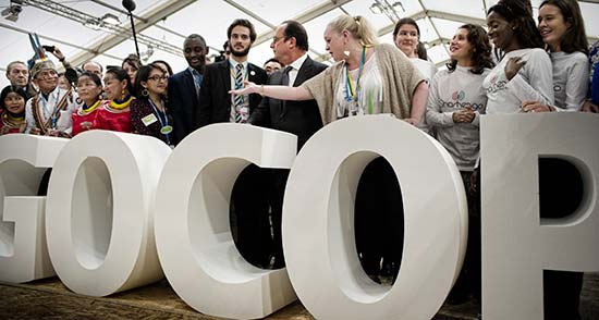 French President François Hollande; Minster of Ecology, Sustainable Development, and Energy Ségolène Royal; and environmentalist Nicolas Hulot visit the Climate Generation area of Le Bourget.