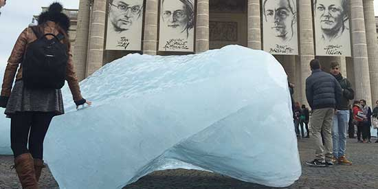 The #IceWatchParis art installation opened yesterday on the Place du Panthéon and features ice blocks from Greenland that will melt away during COP21. Photo: @altparadigm.